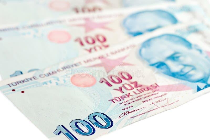 Billets de banque de Lire turque Fond d'argent images stock