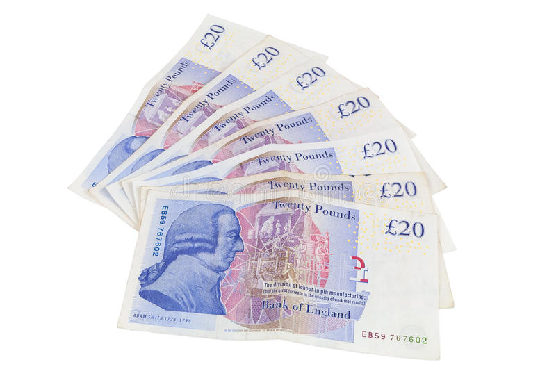 Billets de banque de 20 livres anglaises images libres de droits