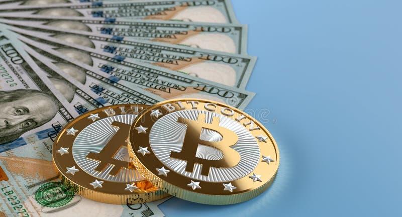 100 billets de banque du dollar et Bitcoins d'or images stock