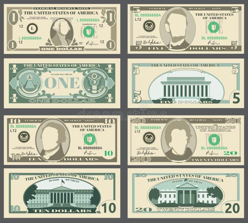 Billets de banque du dollar, nous ensemble de vecteur de factures d'argent de devise illustration de vecteur