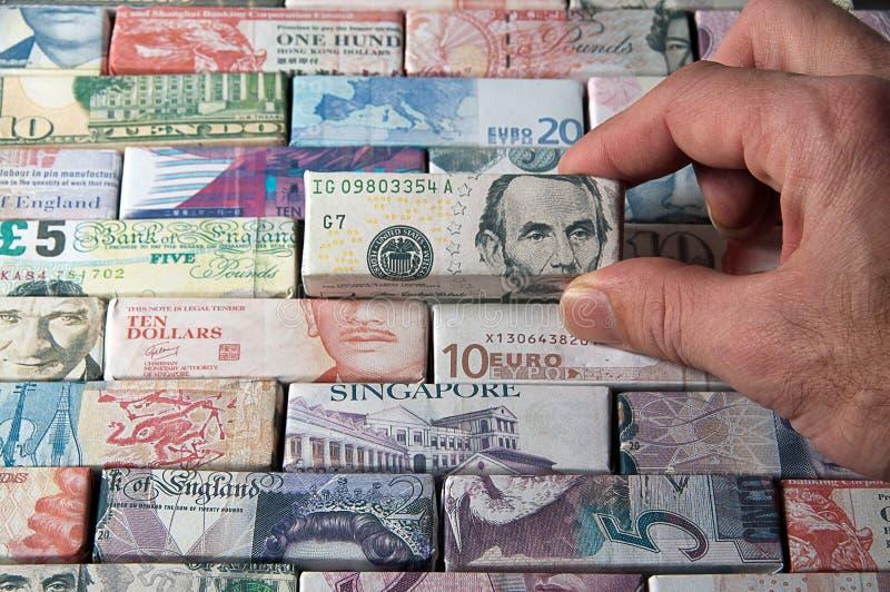 Billets de banque du monde global de finances et d'opérations bancaires (dollars) image stock