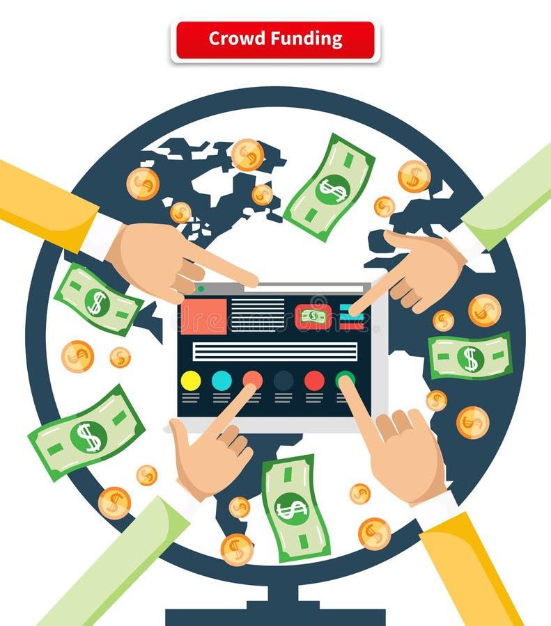 Billets de banque et pièces de monnaie de placement de foule de concept illustration libre de droits