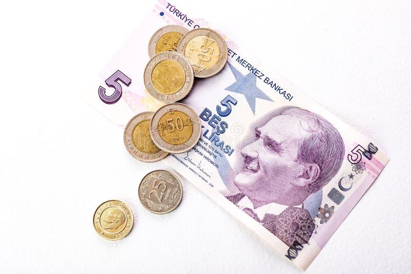 Billets de banque et pi?ces de monnaie turcs ESSAI de Lire turque ou TL images libres de droits