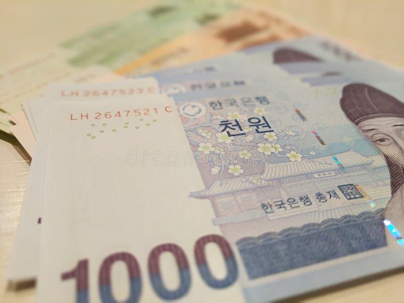 Billets de banque gagnés coréens image libre de droits