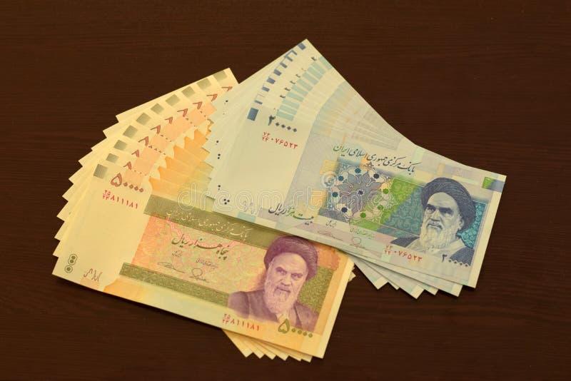 Billets de banque iraniens, 20000 rials et 50000 rials image libre de droits