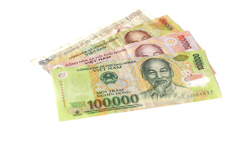 Billets de banque vietnamiens de Dong de devise photo stock