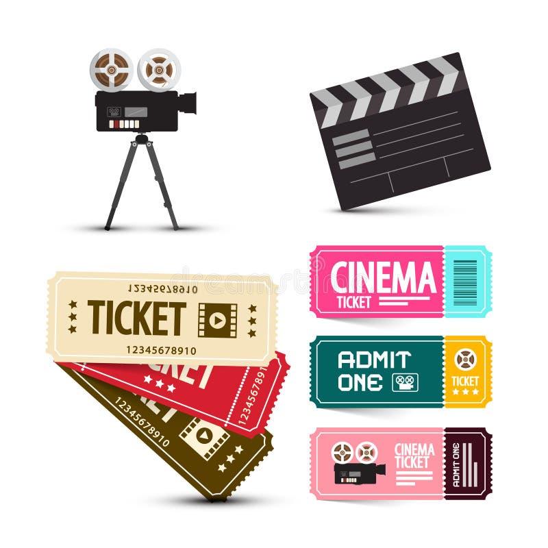 Billets de cinéma Articles de film de vecteur réglés illustration de vecteur