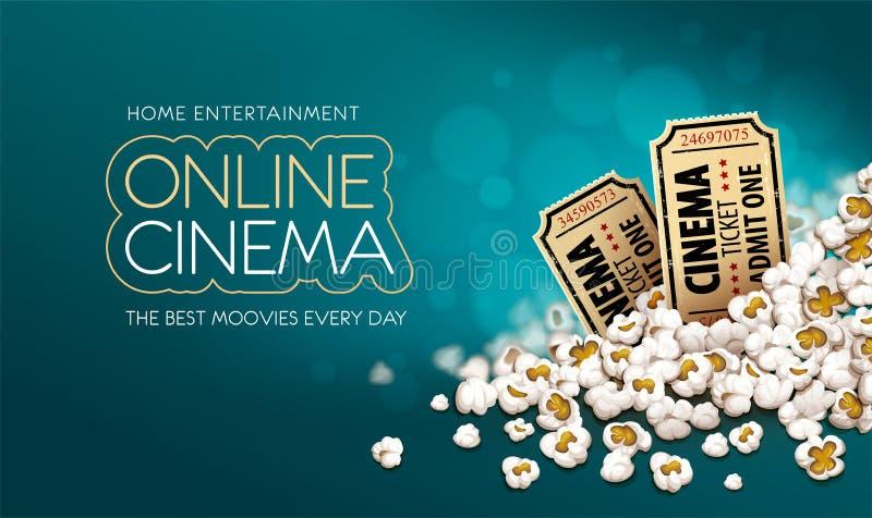 Billets de cinéma d'or en maïs éclaté Banni?re en ligne de film Illustration de vecteur illustration stock