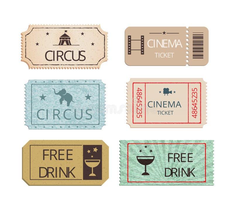 Billets de cirque et de partie de cinéma de vintage réglés illustration de vecteur