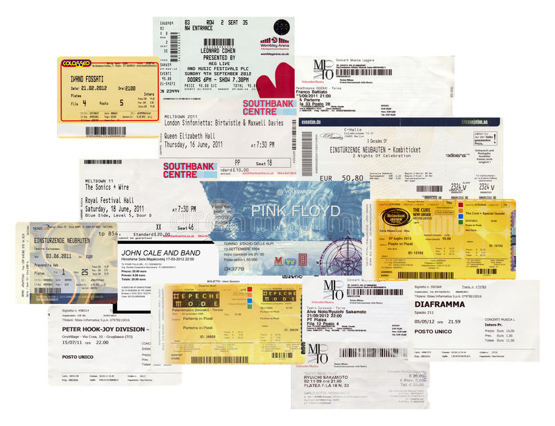 Billets de concert photos stock