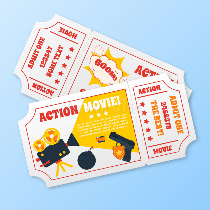 Billets de film d'action réglés illustration stock