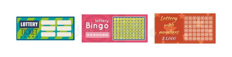 Billets de loterie, bingo-test, loto, tombola d'argent et prix illustration de vecteur