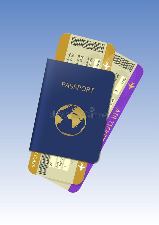 Billets de passeport et d'avion illustration stock