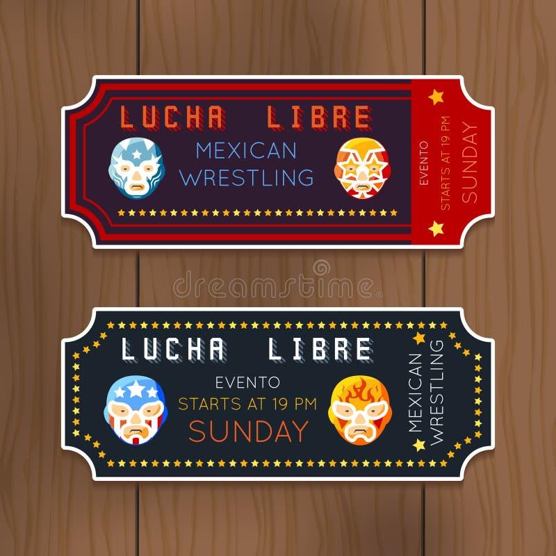 Billets de vecteur de Lucha Libre de vintage avec le Mexicain illustration stock