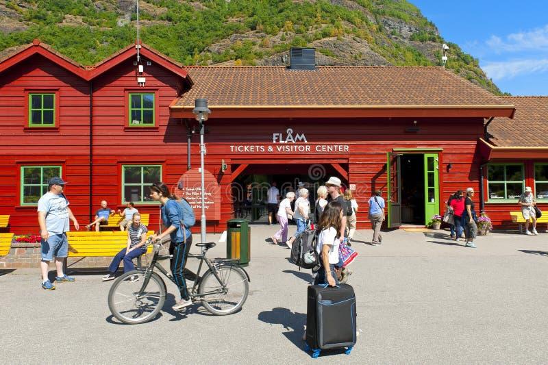Billets et centre de visiteur Flam - en Norvège dans une visite de coquille de noix image stock