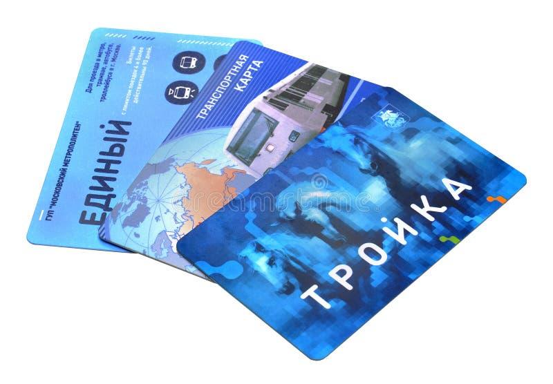 Billets magnétiques de transport en commun de voyage de Moscou avec le coût fixe photos libres de droits