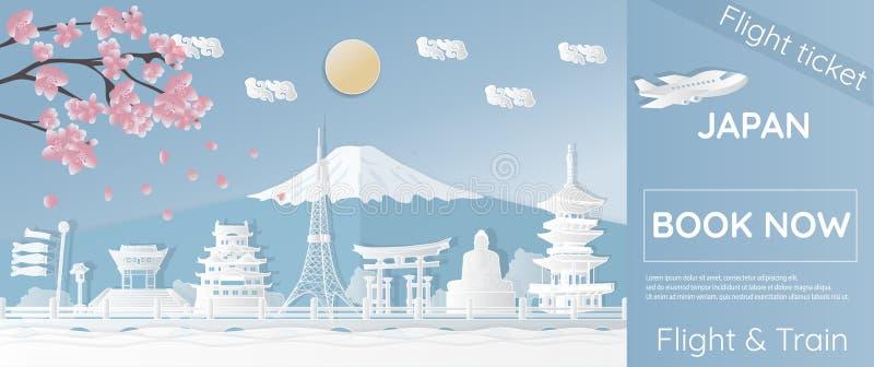 Billets pour voyager au Japon, endroits célèbres au Japon, annonçant des calibres, billets d'avion dans des styles de papier-coup illustration de vecteur