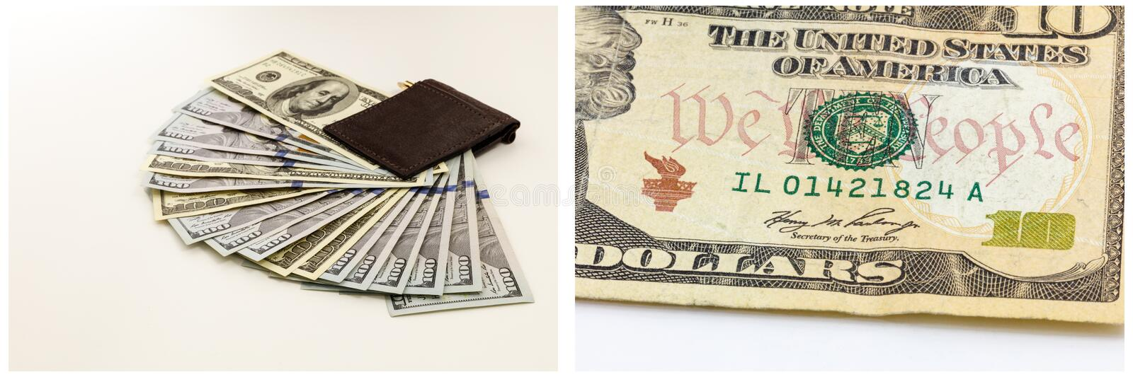 Wallet cash fanned savings isolated collage. Billfold of American currency paper cash bills fan display savings isolated white collection collage royalty free stock photo