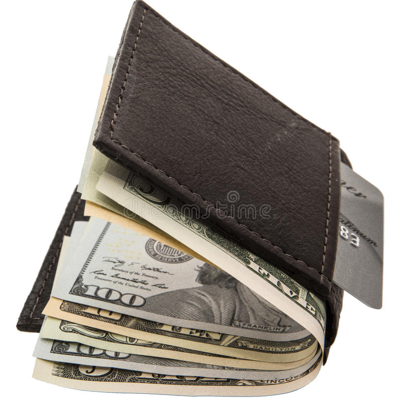 Billfold credit card banknotes isolated white. This leather wallet holds a credit or debit card and paper USA cash for future purchases or monetary transactions stock photo