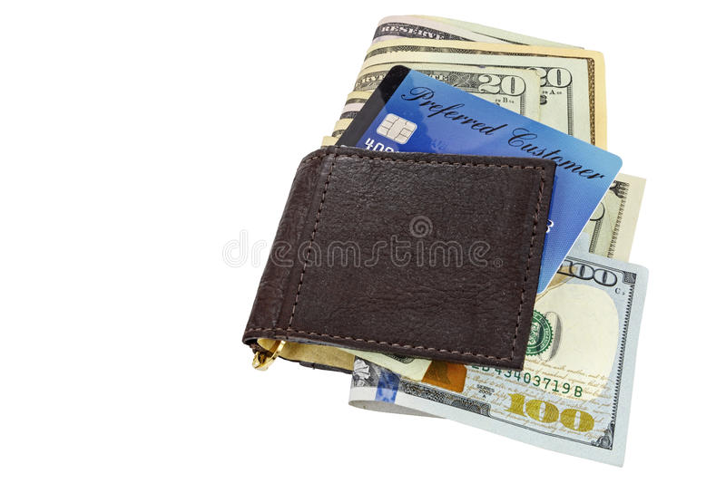 Billfold credit cards cash isolated white background. The plastic financial credit card with American paper cash money is folded cutout and piled in a leather stock photo