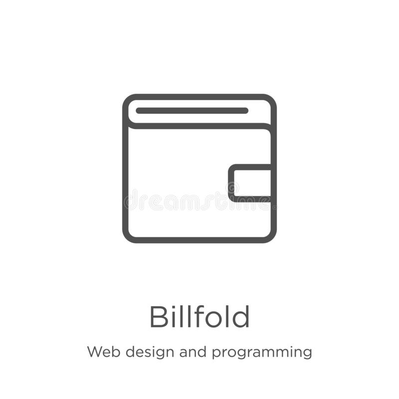 Billfold icon vector from web design and programming collection. Thin line billfold outline icon vector illustration. Outline,. Billfold icon. Element of web royalty free illustration