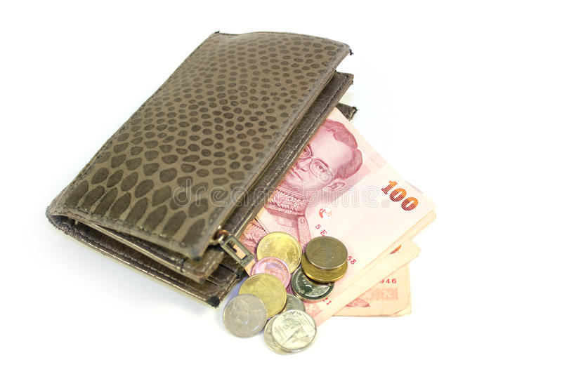 Billfold money. Many Coins and bank in billfold, closeup royalty free stock images
