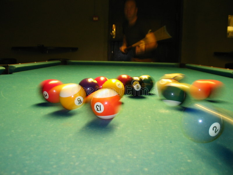 Billiard. Hitting billiard balls