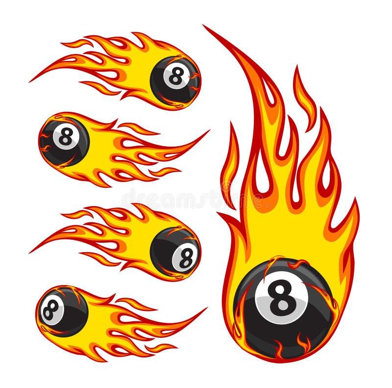 Billiard Ball 8 On Fire. Vector illustration of a billiard ball in fire royalty free illustration