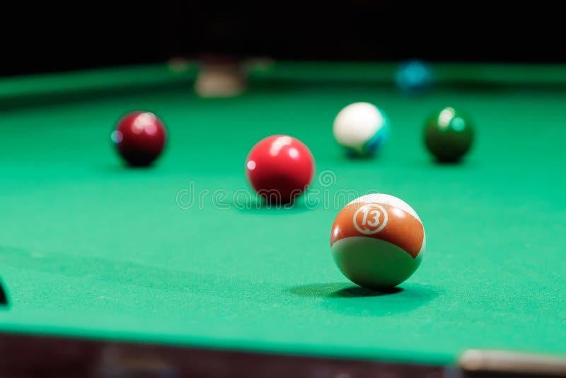 Billiard balls on the billiard table, American billiards. Sports games, outdoor activities.  royalty free stock photography
