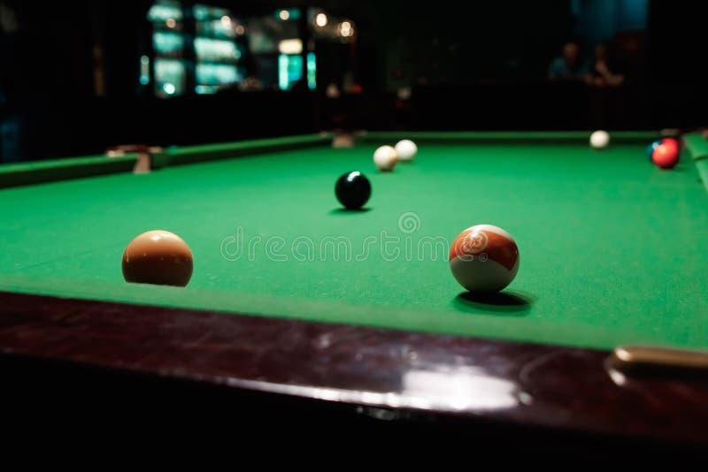 Billiard balls on the billiard table, American billiards. Sports games, outdoor activities.  royalty free stock photos