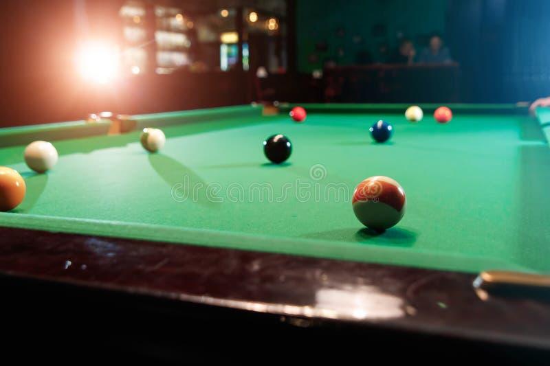 Billiard balls on the billiard table, American billiards. Sports games, outdoor activities.  stock photography