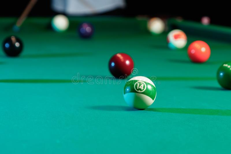 Billiard balls on the billiard table, American billiards. Sports games, outdoor activities.  royalty free stock images