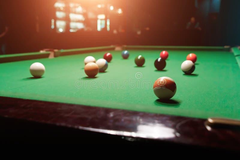 Billiard balls on the billiard table, American billiards. Sports games, outdoor activities.  stock image