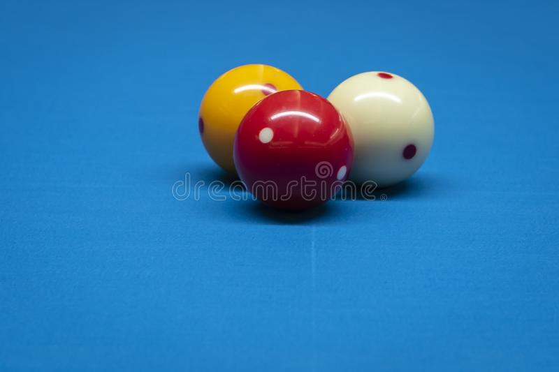 Billiard balls on a billiard table. royalty free stock photography