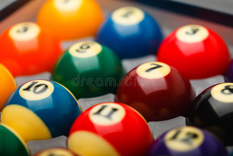 Billiard balls in box close up royalty free stock photography