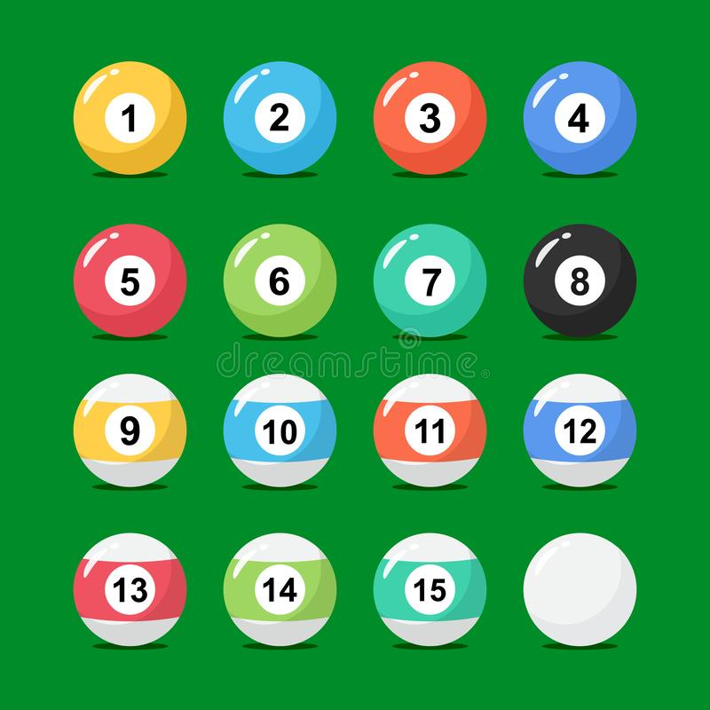 Billiard balls collection in flat style. Set of snooker balls with numbers. stock illustration