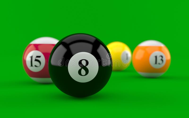 Billiard balls. On green background royalty free illustration
