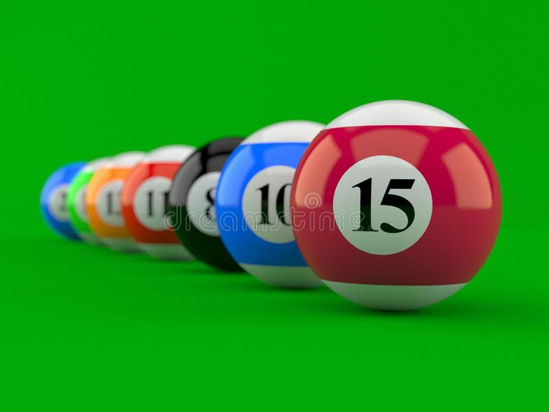 Billiard balls. On green background vector illustration