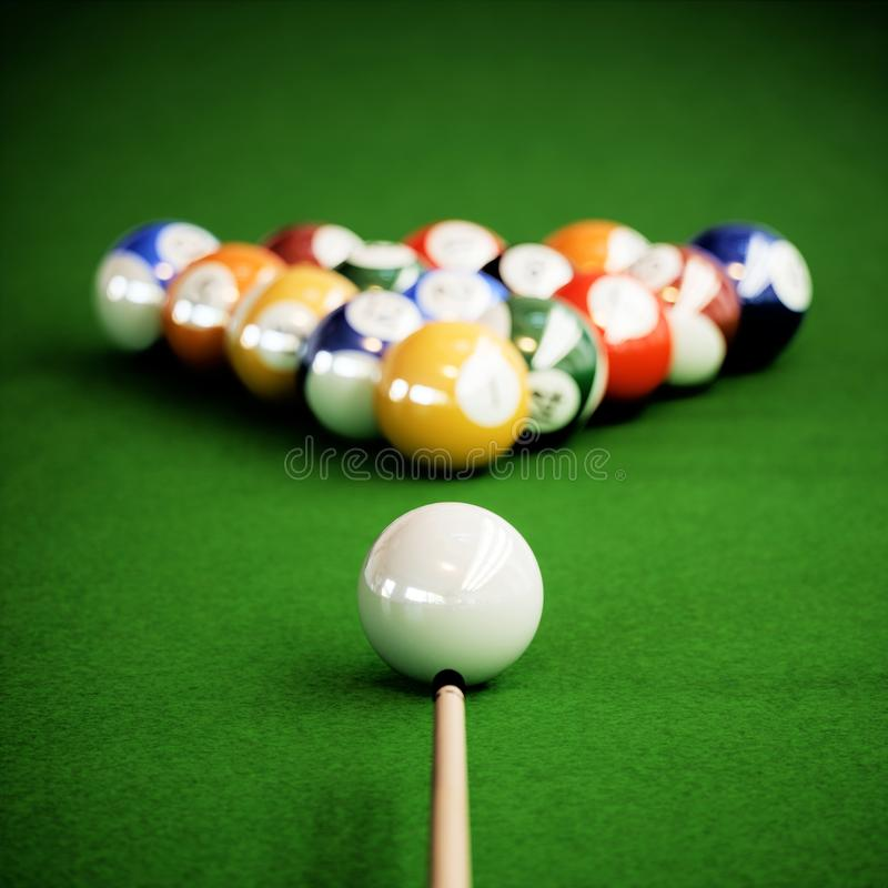 Billiard balls on a green pool table. 3d rendering illustration vector illustration