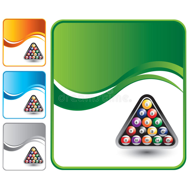 Billiard balls on green wave backdrop. Green wave background with a set of billiard balls stock illustration