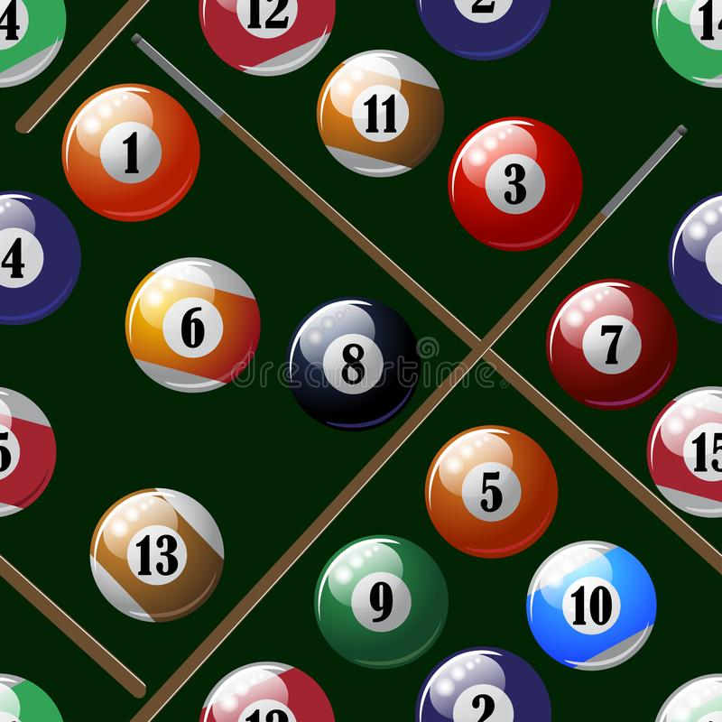 Billiard balls, an illustrated pattern. Billiard balls illustrated with a colored pattern vector illustration