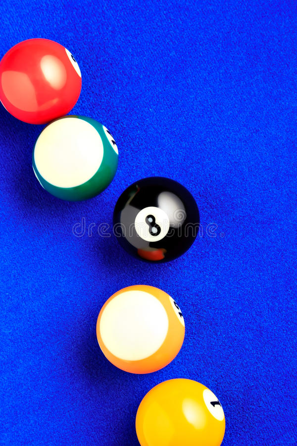 Free Billiard Balls In A Blue Pool Table. Stock Photo - 60534870