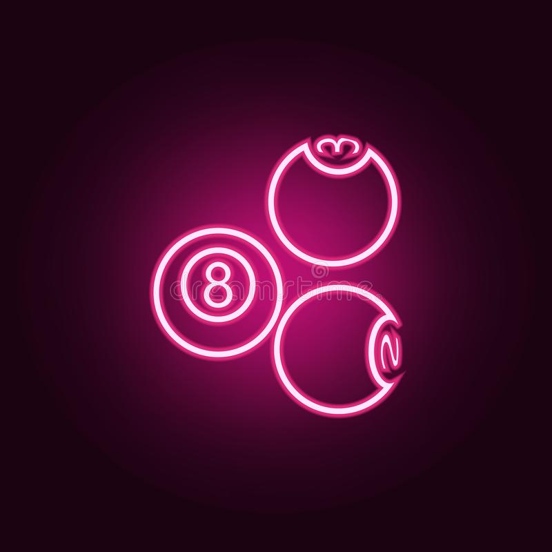 Billiard balls neon icon. Elements of web set. Simple icon for websites, web design, mobile app, info graphics. On dark gradient background vector illustration