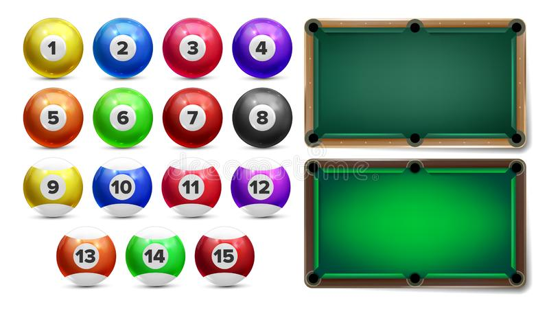 Billiard Balls With Numbers And Table Set Vector. Colorful Glossy Collection Of Billiard Pool Sphere With Reflection And Playing Place. Gambling Equipment Of royalty free illustration