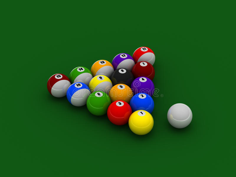 Download Billiard Balls On Pool Cloth Stock Illustration - Illustration: 12922418