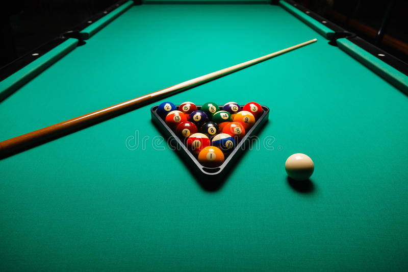 Billiard balls in a pool table stock photo image of - Pool table images ...