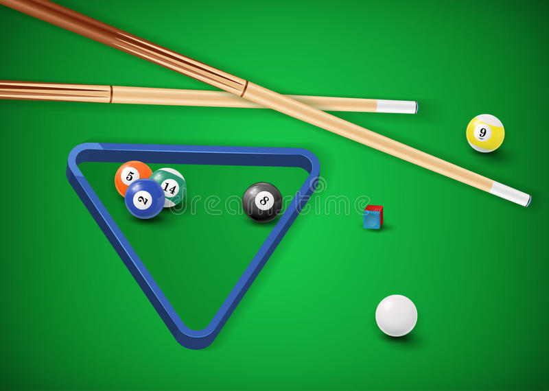 Billiard balls in a pool table. EPS 10 royalty free illustration