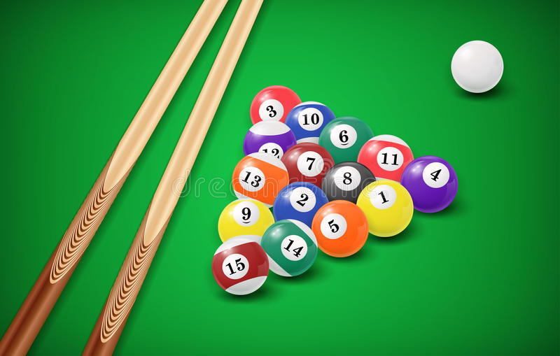 Billiard balls in a pool table. EPS 10 vector illustration