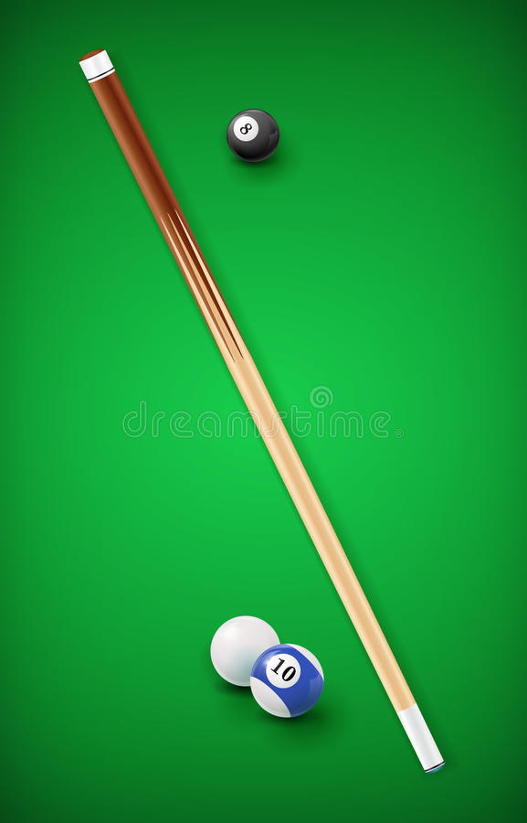 Billiard balls in a pool table. EPS 10 stock illustration