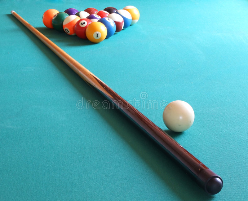Billiard balls and table royalty free stock photography